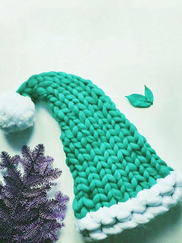 Cute Christmas Knitting Aran Weight Hat GREEN CHILD