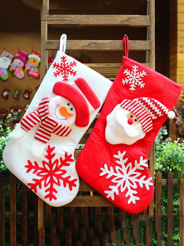 Image of Santa Claus\u0026Snowman Christmas Socks Gift Pouch Decoration RED FREE SIZE