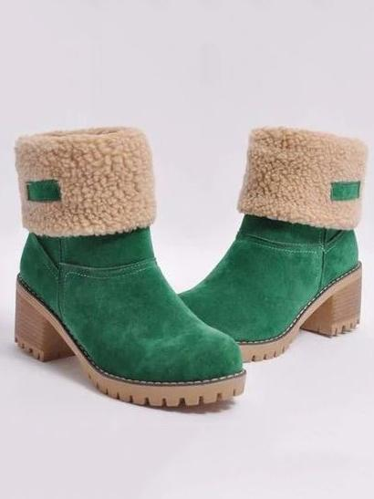 Chunky Mid Calf Winter\u0026Snow Boots CAMEL 35