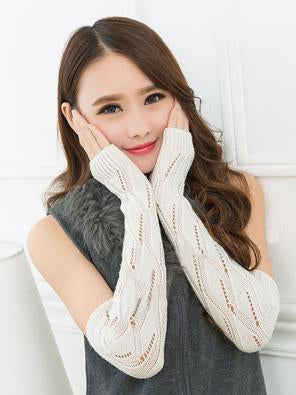 Long Warmer Half-finger Wrist Gloves Accessories BLACK