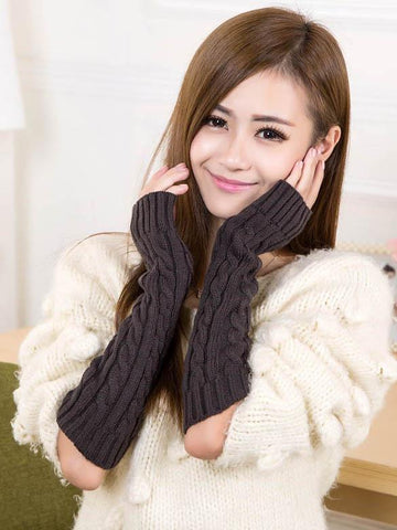 Long Warmer Solid Color Half-finger Wrist Gloves Accessories DEEP GRAY