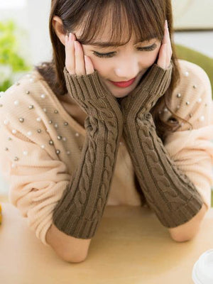 Long Warmer Solid Color Half-finger Wrist Gloves Accessories KHAKI