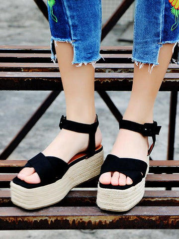 Image of Ankle Strap Platform Sandals BLACK 39