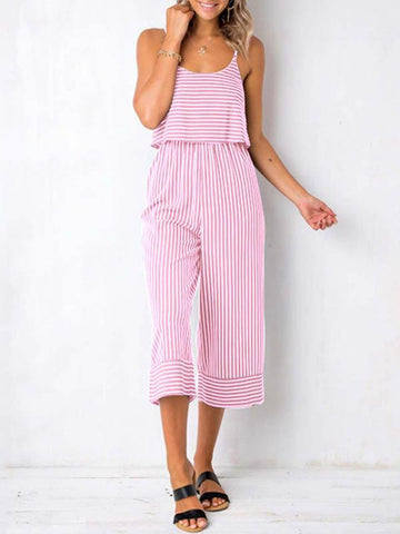 Image of Spaghetti Pinstripe Loose Jumpsuits BLUE S