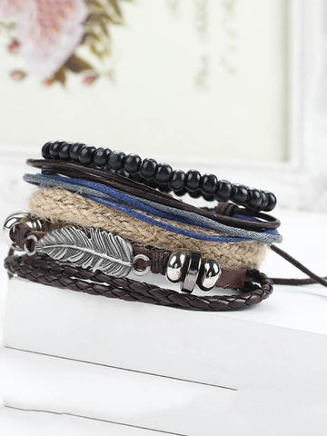 Multilayer Feather Wooden Bead Bracelet Accessories -