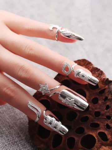 Image of Lucky Flower Of Finger-Nails Sterling Sliver Accessories SLIVER A