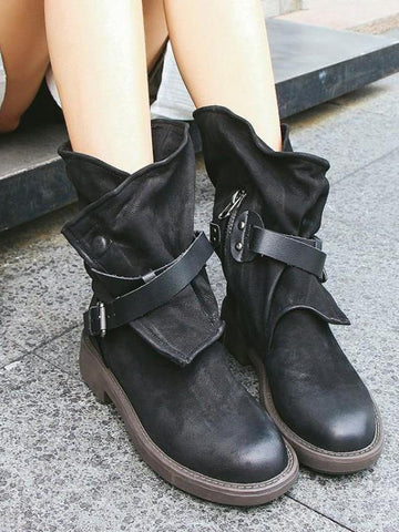 Image of Vintage Low-heel Bandage Boots Shoes BLACK 36