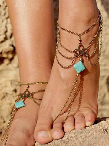 Pretty Tassels Turquoise Footchain Accessories SLIVER FREE SIZE