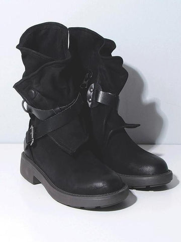 Image of Vintage Low-heel Bandage Boots Shoes BLACK 38