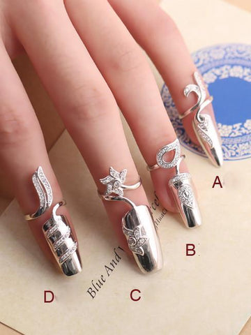 Lucky Flower Of Finger-Nails Sterling Sliver Accessories GOLDEN A