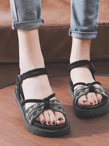 Image of Pretty Beach Flats Sandals BLACK 40