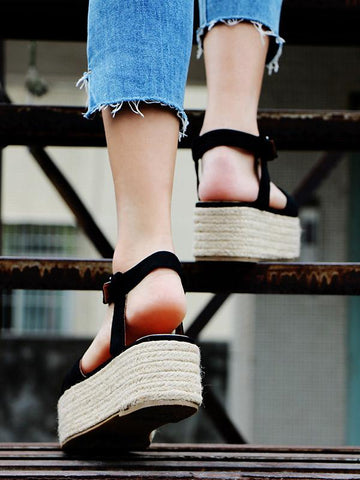 Image of Ankle Strap Platform Sandals BLACK 37