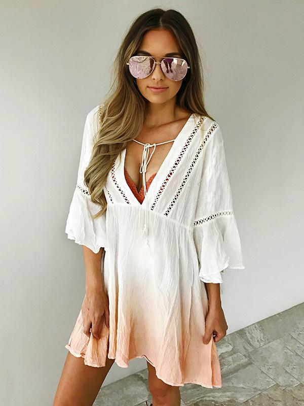 V-neck 3\/4 Sleeves Gradient Bohemia Mini Dress CREAMY WHITE L