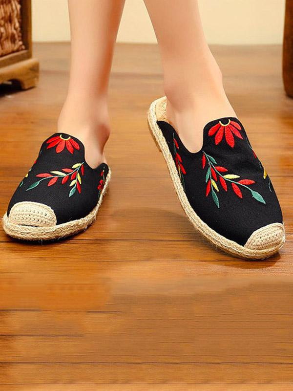 Embroidered Beach Fisherman Shoes BLACK 35
