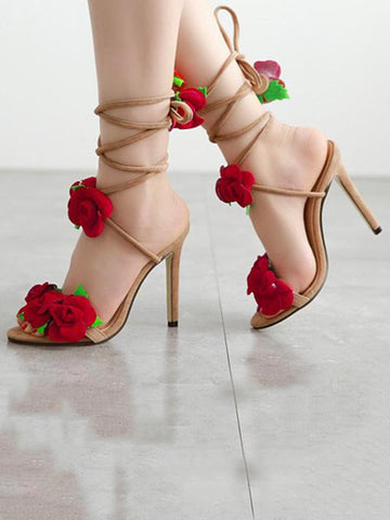 Image of Floral Bandage Decorated Heels Shoes APRICOT 37