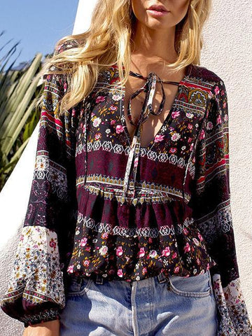 Image of Beautiful Floral-Print Long Sleeve Deep V Neck Bohemia Beach T-Shirt Tops COFFEE M