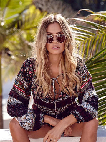 Image of Beautiful Floral-Print Long Sleeve Deep V Neck Bohemia Beach T-Shirt Tops COFFEE XXL