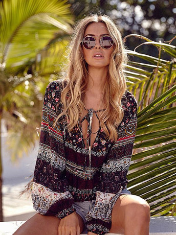 Image of Beautiful Floral-Print Long Sleeve Deep V Neck Bohemia Beach T-Shirt Tops COFFEE L