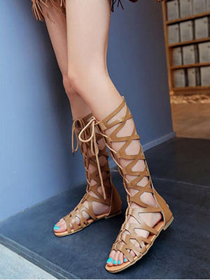 Retro Hight Barrel Hollow Lace-Up Slight Heel Suede Sandals APRICOT 35