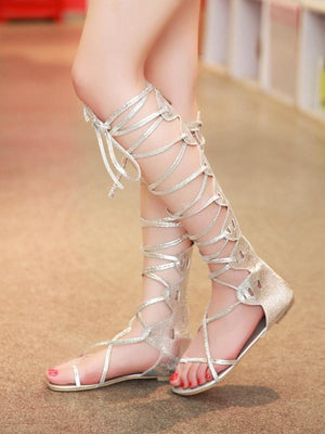Popular Solid Color Hight Barrel Lace-Up Slight Heel Suede Sandals SLIVERY 35