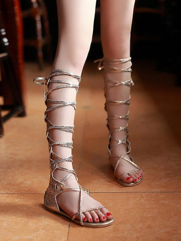 Popular Solid Color Hight Barrel Lace-Up Slight Heel Suede Sandals SLIVERY 36
