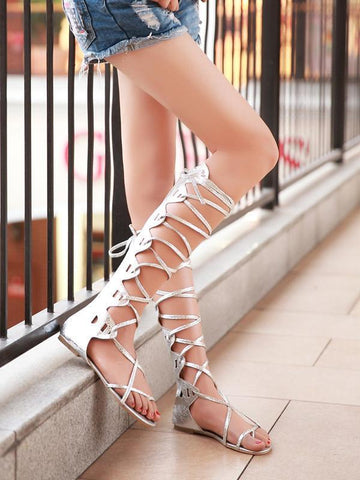 Popular Solid Color Hight Barrel Lace-Up Slight Heel Suede Sandals SLIVERY 39