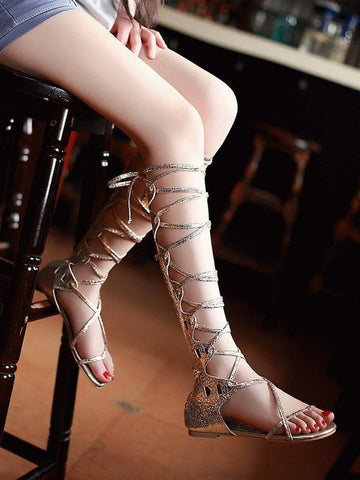 Popular Solid Color Hight Barrel Lace-Up Slight Heel Suede Sandals SLIVERY 38