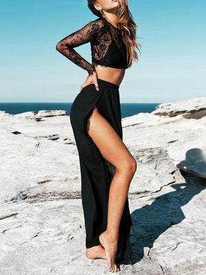 Black Sexy Lace Hollow Tops And Side Split Skirt Bottoms BLACK S