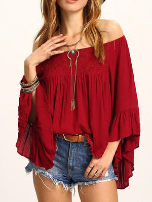 Beautiful Wine-red Falbala Sleeve Off-the-shoulder T-Shirt Tops WINE S