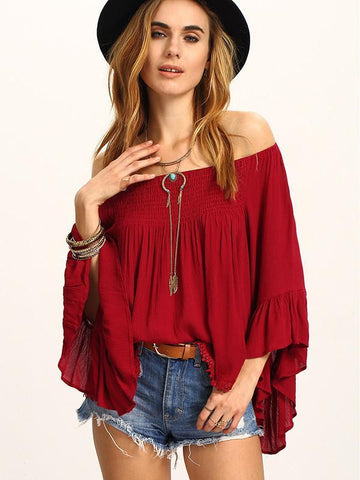 Beautiful Wine-red Falbala Sleeve Off-the-shoulder T-Shirt Tops WINE L