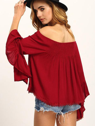 Image of Beautiful Wine-red Falbala Sleeve Off-the-shoulder T-Shirt Tops WINE M