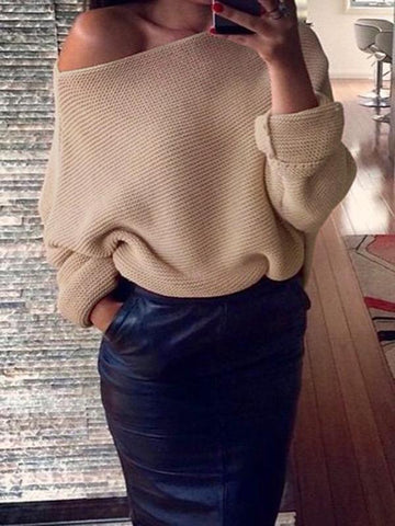 Sexy Solid Color Off-the-shoulder Sweater Tops WHITE M
