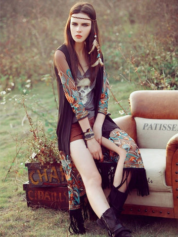 Image of Bohemia Emboridered Tassel Printed Beach Cover-ups M