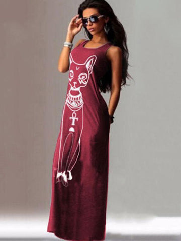 Image of Cat Printed Straps Sleeveless Maxi Dress BLACK S