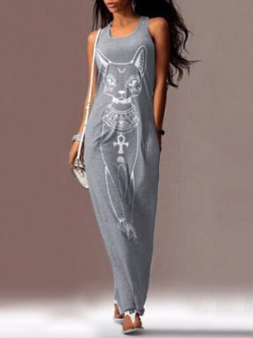 Image of Cat Printed Straps Sleeveless Maxi Dress GRAY S
