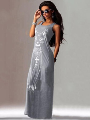 Image of Cat Printed Straps Sleeveless Maxi Dress BLACK M