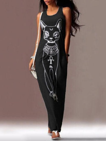 Image of Cat Printed Straps Sleeveless Maxi Dress GRAY XL