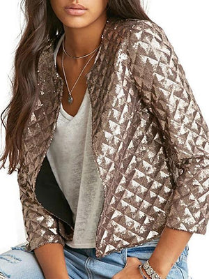 Pretty Apricot Sequined Jackets Outwears BROWN S