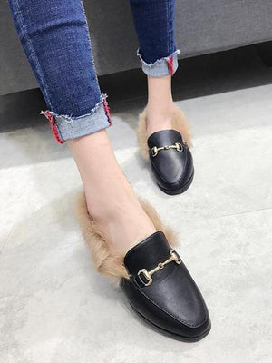 Solid Color Faux Fur Flat Shoes BLACK 34