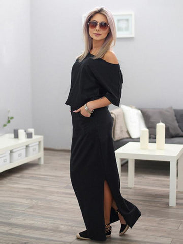Image of Solid Color Split-side Maxi Dress BLACK XL