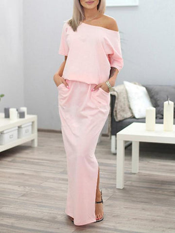 Image of Solid Color Split-side Maxi Dress PINK XL