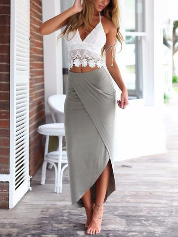 White Lace Spaghetti-neck Vest and Long Skirt Suits S