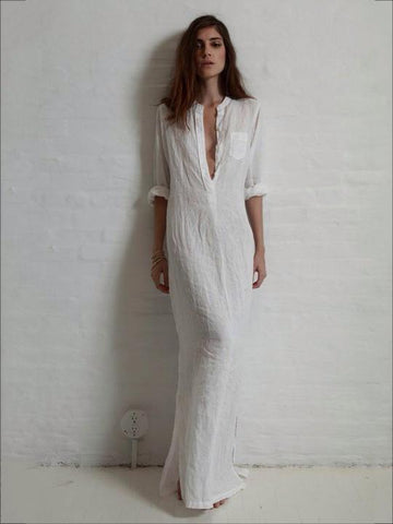 Image of Solid Color Split-side Stand Collar Maxi Dress WHITE XL