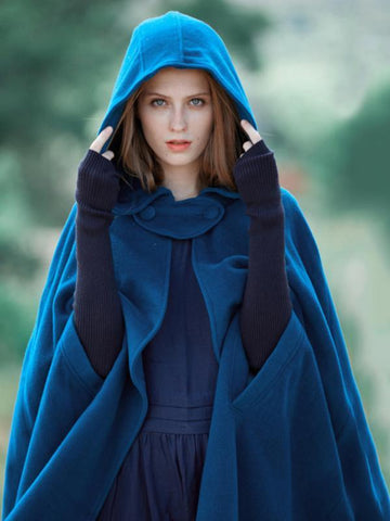 Blue Hooded Cloak Trench Cape Outwear BLUE 2XL