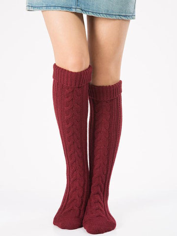 Image of Knitting Over Knee-high Leg Warmer Thermal Stocking NAVY BLUE
