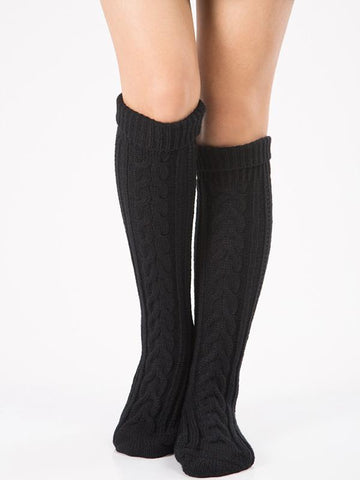 Knitting Over Knee-high Leg Warmer Thermal Stocking WINE