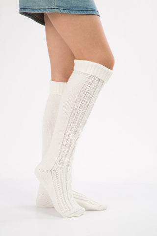 Image of Knitting Over Knee-high Leg Warmer Thermal Stocking WHITE