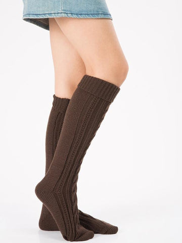 Image of Knitting Over Knee-high Leg Warmer Thermal Stocking BLACK