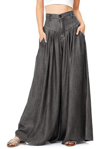Simple Solid Color Big Hem Wide Leg Bottom Casual Pants BLACK XL