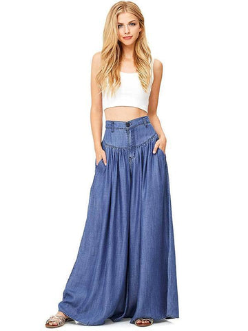 Simple Solid Color Big Hem Wide Leg Bottom Casual Pants BLACK 3XL